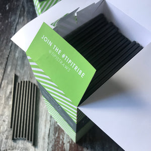 BAR Cocktail Bulk Paper Straws - Plain Black