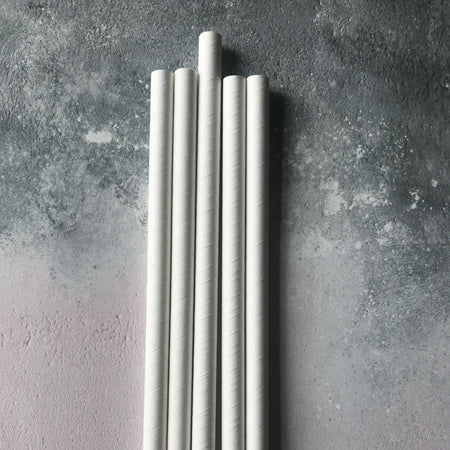 CLASSIC 6mm Bulk Paper Straws - Plain White