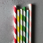 CLASSIC 6mm Bulk Paper Straws - Striped Surf Blue