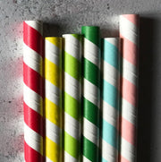 BUBBLE TEA 12mm Tipi Paper Straws - Striped Rainbow Mix - Box 125