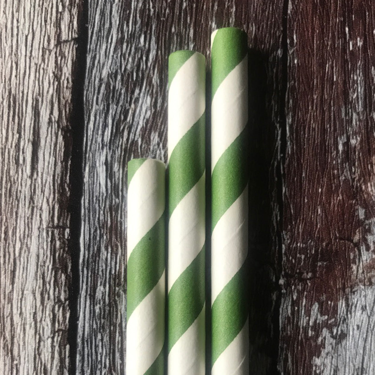 CLASSIC 6mm Bulk Paper Straws - Striped Green