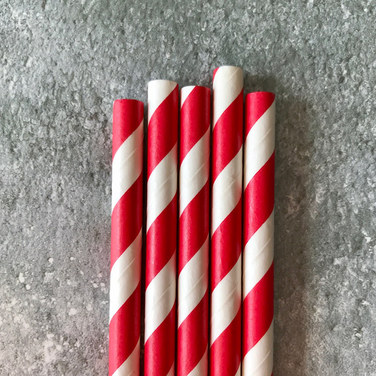 CLASSIC 6mm Bulk Paper Straws - Striped Red