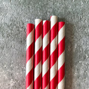 Classic Striped Paper Straws - Red