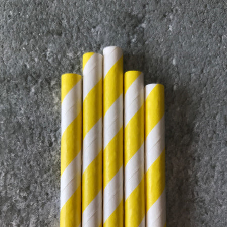 CLASSIC 6mm Bulk Paper Straws - Striped Yellow