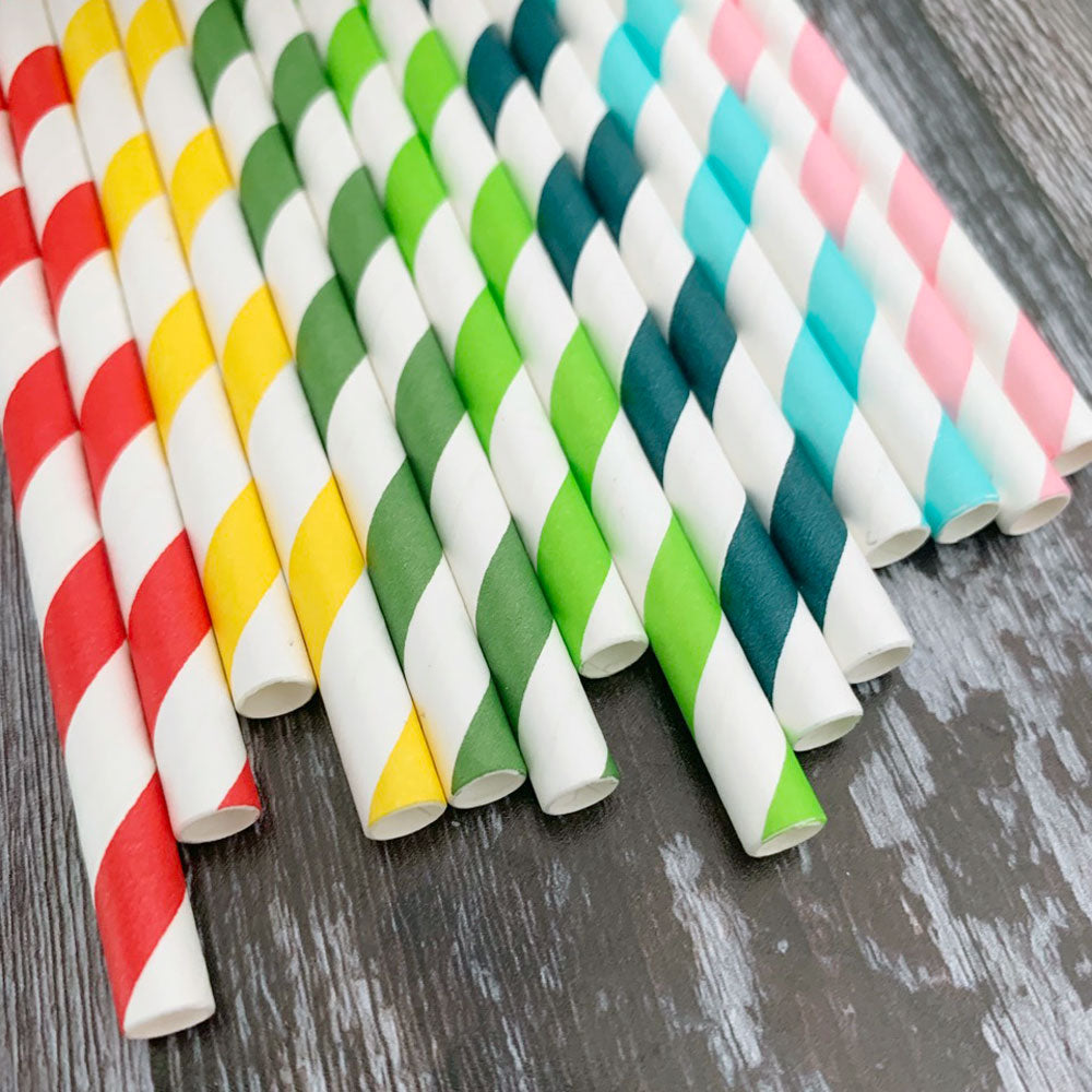 FAT 8mm Milkshake Bulk Paper Straws - RAINBOW MIX