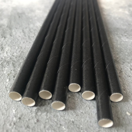 FAT LONG 8mm Bulk Paper Straws - Plain Black