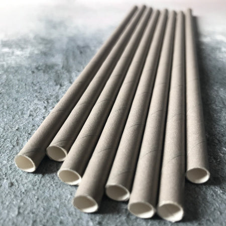 Fat Plain Paper Straws - Grey
