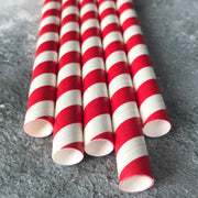 Fat Long Striped Milkshake Paper Straws - Emerald Green