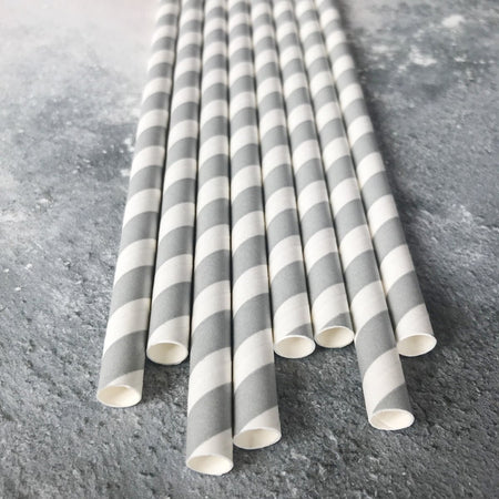 Fat Striped Milkshake Paper Straws - Silver