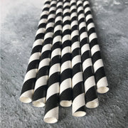 Fat Striped Milkshake Paper Straws - Black
