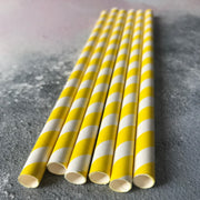 Fat Striped Milkshake Paper Straws - Yellow