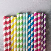 Fat Long Striped Milkshake Paper Straws - Red
