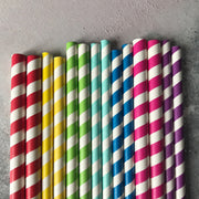 FAT 8mm Milkshake Bulk Paper Straws - Striped Green