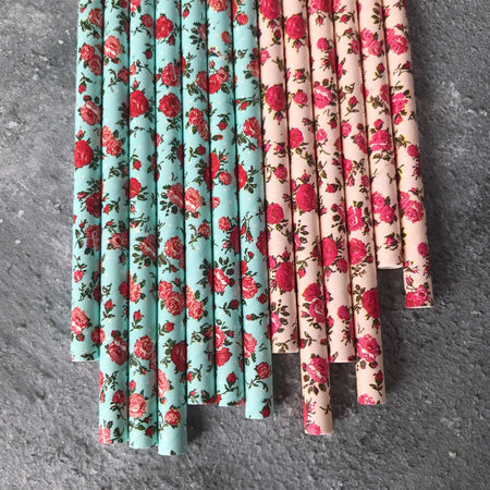 Floral Paper Straws - Turquoise