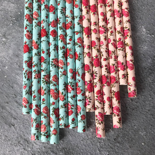 Floral Paper Straws - Pretty Pink
