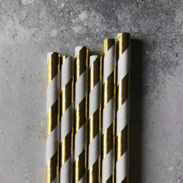Foil Striped Paper Straws - Gold