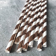 Foil Striped Paper Straws -  Rose Gold