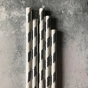 Foil Striped Paper Straws -  Silver
