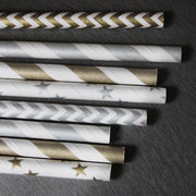 Star Paper Straws - Foiled Silver