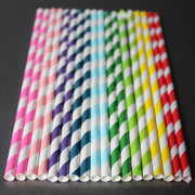 Classic Striped Paper Straws  - Aqua Blue