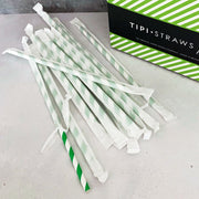 CLASSIC WRAPPED Tipi Paper Straws - Green Stripe - Carton