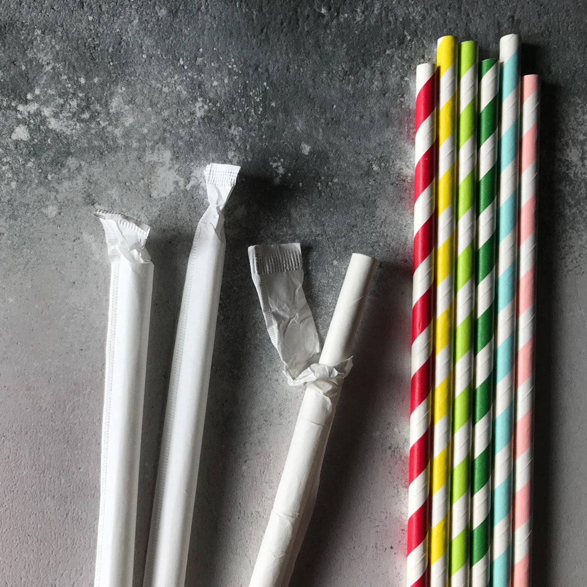 CLASSIC WRAPPED Tipi Paper Straws - Green Stripe - Carton 6720