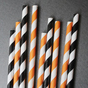 Classic Striped Paper Straws - Orange