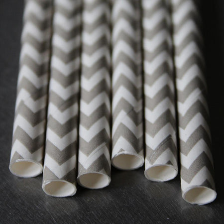 Chevron Paper Straws - Grey