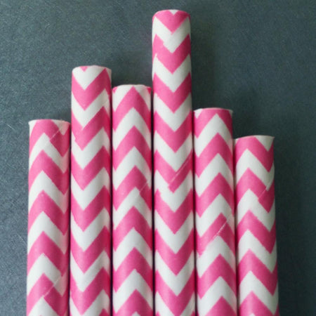 Chevron Paper Straws - Hot Pink