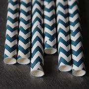 Chevron Paper Straws - Navy