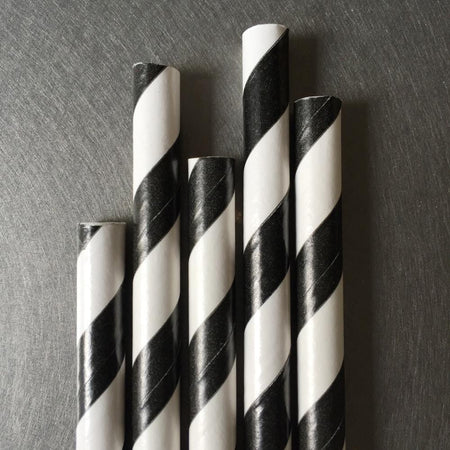 Classic Striped Paper Straws - Black