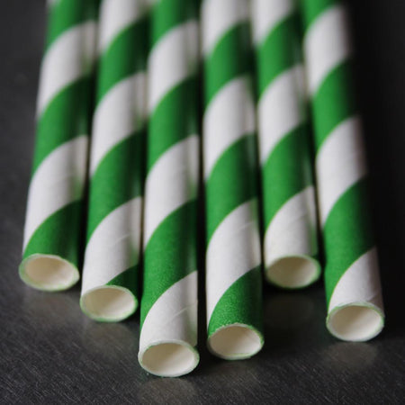 Classic Striped Paper Straws - Emerald Green