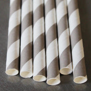 Classic Striped Paper Straws  Grey