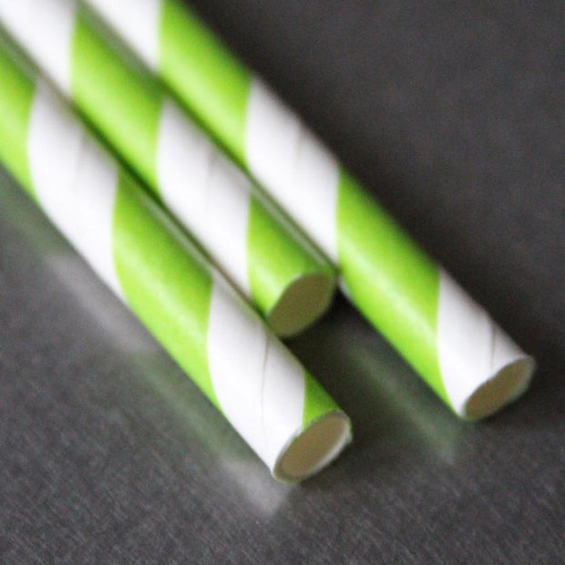 Classic Striped Paper Straws - Lime