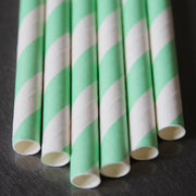 Classic Striped Paper Straws - Mint