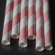 Classic Striped Paper Straws - Pink
