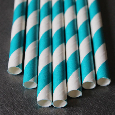 Classic Striped Paper Straws- Teal
