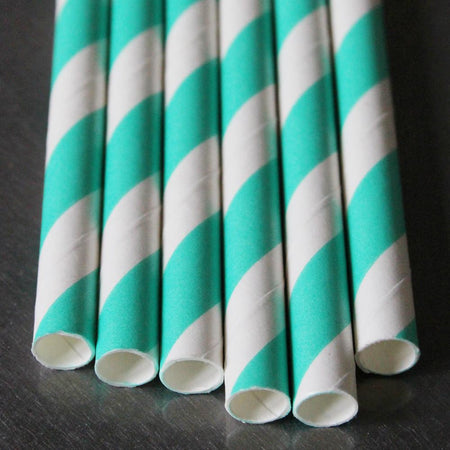 Classic Striped Paper Straws - Turquoise