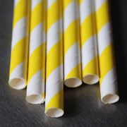 Classic Striped Paper Straws - Yellow