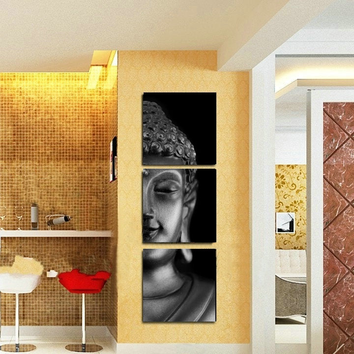3 Panels Canvas Print Buddha Painting On Canvas Wall Art Picture ...