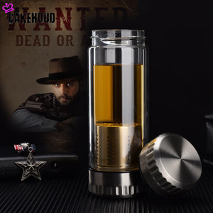 Water Bottle Glass with Stainless Steel Tea Infuser Filter Double Wall - techtobody