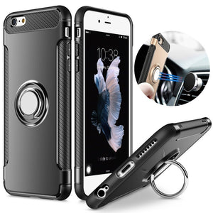 Shockproof Case for iPhone 5 -8 Silicone and Hard PC Back Cover With Magnet Car Holder Metal Phone Ring Stand - techtobody