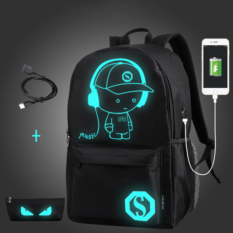 Backpack Anime Luminous USB Charge Laptop Anti-theft - techtobody