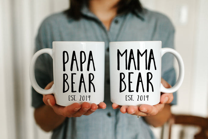Mama Bear and Papa Bear White Mug Set