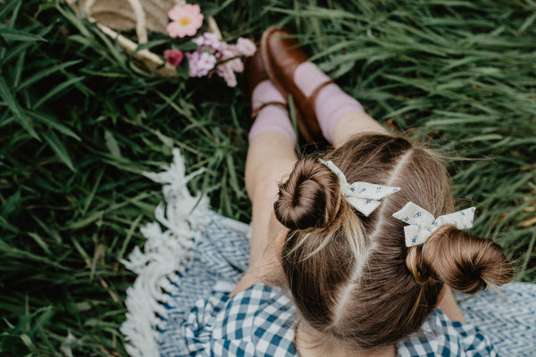 Pigtail Bow - Blue Nina