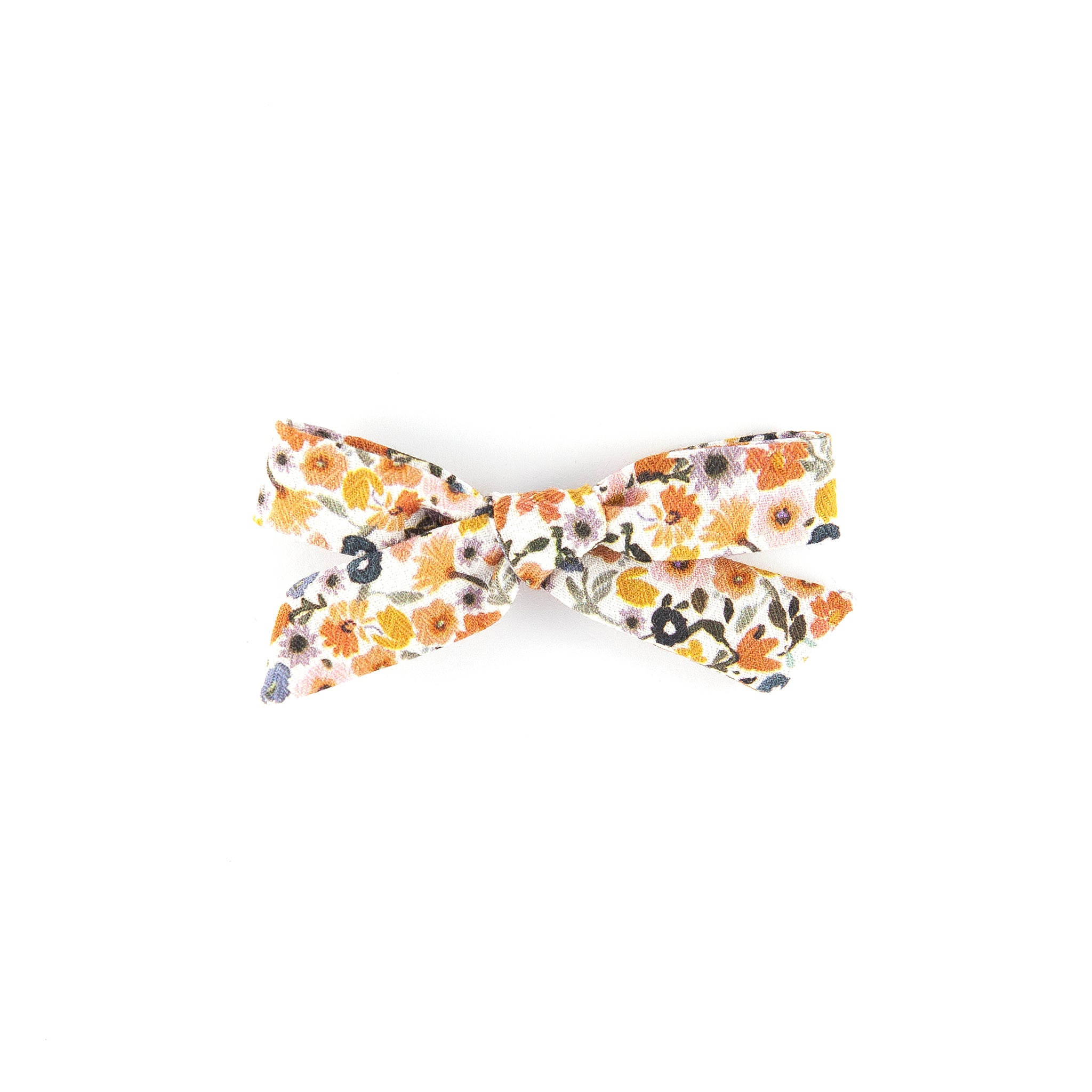 Pigtail bow - Brown Floral Cotton
