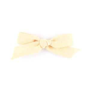 Matilda & Grace, handtied bow, pale yellow linen