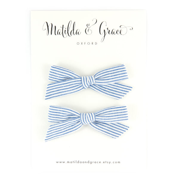 Pigtail Bow - Blue & White Striped Cotton