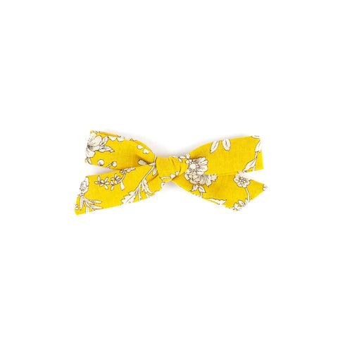 Pigtail Bow - Mustard Floral
