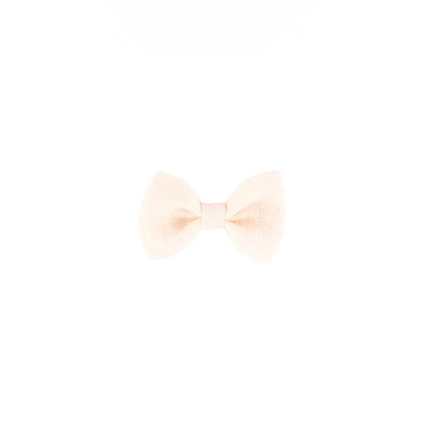 Mini Classic Bow - Pale Peach Linen